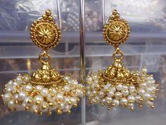 NEW ETHNIC GOLD TONE PEARL POLKI JHUMKA JHUMKI INDIAN BOLLYWOOD EARRINGS SET  #Handmade #DropDangle