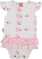 Sooki Baby A Birds View Frilly Skirt Snapon.  Two frills around hips, one a pink polka dot and the other plain pink.  The fabric has an overall  design of pink birds.  It has a ruffled sleeve and metal fasteners on the back.  100% cotton and machine washable.