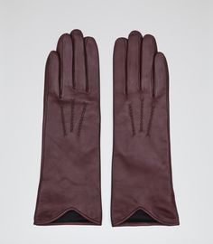Womens Wine Berry Long Leather Gloves - Reiss Zinnia