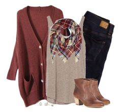 """""""Oversized rust cardigan & plaid blanket scarf"""" by steffiestaffie ❤ liked on Polyvore featuring American Eagle Outfitters, Zara and Sole Society"""