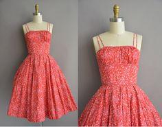 50s floral cotton vintage sun dress / vintage 1950s dress