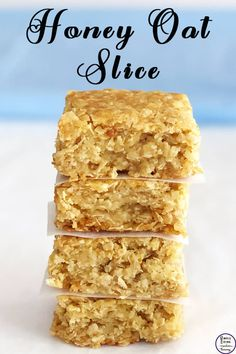 This honey oat slice is a lovely slice that goes well with a hot cuppa for morning or afternoon tea. Tea Recipes, Sweet Recipes, Baking Recipes, Dessert Recipes, Desserts, Yummy Snacks, Yummy Food, Biscuit Recipe, Food Cakes