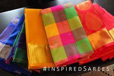 Checkered Colourful Kancheepuram Sarees UK. London Bridal sarees for cheap. Wedding sarees in UK. https://www.facebook.com/inspiredsarees https://www.instagram.com/inspiredsarees/
