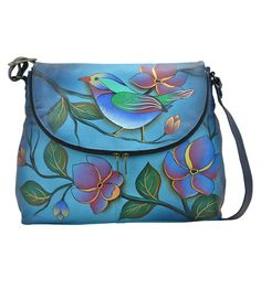 f9e7af88bc Take a look at this Anna by Anuschka Denim Lonesome Bird Hand-Painted  Leather Messenger Bag today!