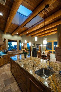 Rustic Kitchen with Kitchen island, Custom hood, European Cabinets, Breakfast nook, Undermount Sink, Exposed beam, One-wall