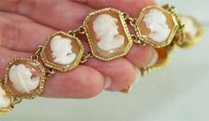 c. 1940-50's bracelet, 18K yellow gold and finely carved shell cameos