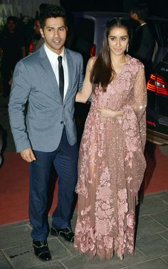 Varun Dhawan and Shraddha Kapoor at Tulsi Kumar's wedding reception in Mumbai.