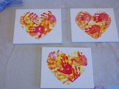 Handprint heart: reverse heart stencil + fingerpaint + 18 month old = super fun activity