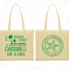 Sandy Feet and Salty Kisses (C88) Cheers to Mr and Mrs, Wedding Shopping Tote Bags, Summer Wedding, Beach Wedding Bags, Wedding Bag Favors by MyWeddingStore on Etsy https://www.etsy.com/listing/463983115/sandy-feet-and-salty-kisses-c88-cheers