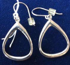 sterling silver teardrop earrings hook dangly dangle hoops