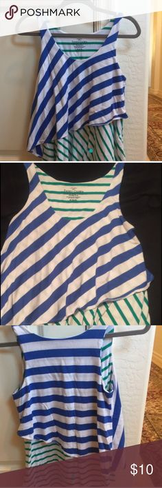 Green and blue striped tank top Fairly new. Worn only 3 times (Sorry for green dots took screen shot off of my other selling page) Tops Tank Tops