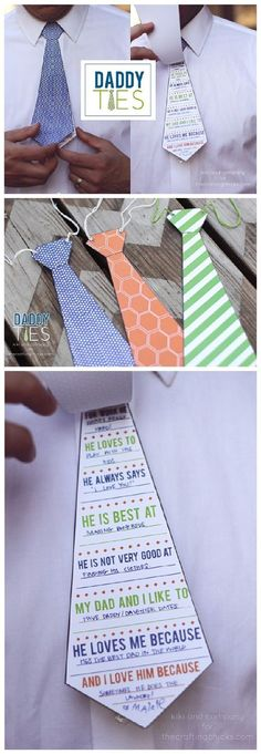 DIY Father's Day Cards {The Best FREE Printable Paper Crafts just for DAD!} Fathers Day DIY Cards FREE Printables - Daddy and Grandpa Ties - Cute Questionnaire for the Kids to Fill out for Dad this year from kiki and company. Fathers Day Art, Fathers Day Crafts, Dad Crafts, Fathers Day Ideas, Paper Crafts For Kids, Diy Father's Day Gifts, Father's Day Diy, Papa Tag, Diy Father's Day Cards