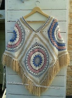 Hippie style Crochet vintage poncho with fringes and beads,crochet Bo-M poncho,Bo-ho poncho,Bohe Crochet Squares, Crochet Granny, Crochet Shawl, Crochet Stitches, Crochet Patterns, Crochet Jacket, Knitted Poncho, Poncho Shawl, Hippie Style
