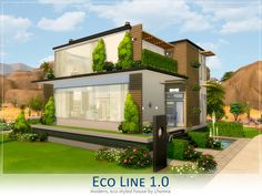 Eco Line house by Lhonna at TSR via Sims 4 Updates Sims Building, Building A House, Building Ideas, Sims Baby, Sims 4 House Design, Casas The Sims 4, Sims 4 Build, Sims 4 Update, Expensive Houses