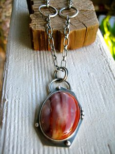 Mookaite Jasper Chunky Sterling Silver Necklace by sierrakeylin, $176.00