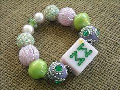 Lavender and Green Mahjong Bracelet - Mah jong Jewelry - Mahjong Gift by MahjongJewelry on Etsy