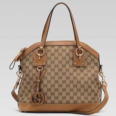 Gucci Charm Medium Top Handle Bag Beige-Light Brown 247249 BXS