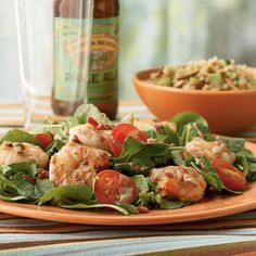 Crisp bacon, shrimp, and a three-ingredient dressing pack hearty flavor into a 30-minute dinner salad.    Sounds delicious, but I will wait until I get back home and buy some fresh gulf shrimp.