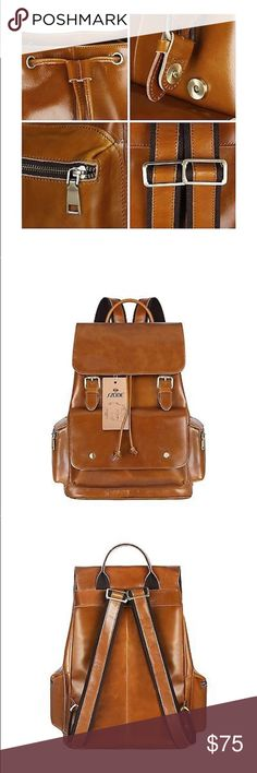 S-ZONE Women's Daily Genuine Leather Backpack Bag BRAND NEW- comes in dust bag             •tan and brown leather color            •New with tags.  •Leather •Denim lining S-ZONE Bags Backpacks