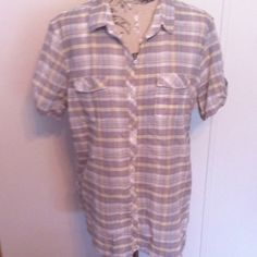 Eddie Bauer Gray/Yellow Plaid Top 2XL This is a nice top that button down. Eddie Bauer Tops