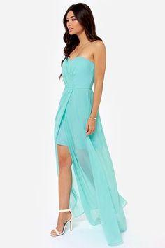 6adf58039691 Over the Swoon Strapless Aqua Blue Maxi Dress