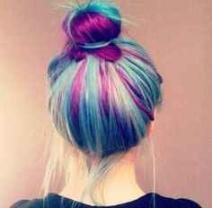 Light blue hair with hot pink strips on bottom layer.