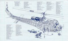 Bell UH-1B Iroquois Military Helicopter by BlueMoonPatentPrints