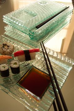 Gorgeous sushi plates by Leeson Glass