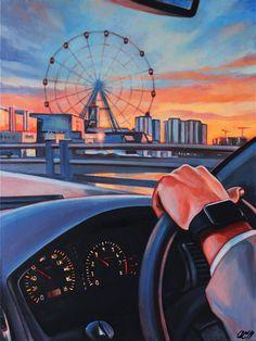 Original Car Painting by Dasha Svoboda | Figurative Art on Canvas | Saturday evening