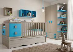 Chambre bébé gris et turquoise