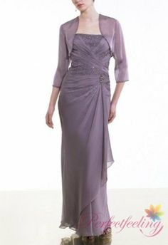 2017 New Light Purple Mother Of The Bride Dresses With Jacket Strapless Long Sleeve Floor Length