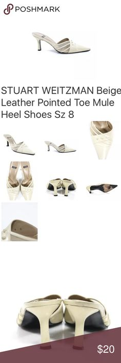 STUART WEITZMAN  LEATHER MULE HEEL SHOES SZ 8 STUART WEITZMAN BEIGE LEATHER POINTED TOE MULE HEEL SHOES SZ 8 Style: Mule Print: Solid Embellishment: Sheer Detail Size: 8 Color: Beige Fabric: Leather PRE-OWNED: Fair Condition Small Staining Some Wear on Sole and Heel Stuart Weitzman Shoes