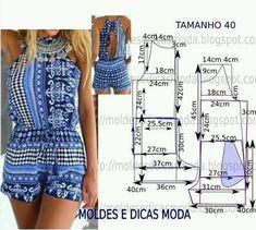 We sew summer things) Sewing Patterns Free, Clothing Patterns, Dress Patterns, Sewing Tutorials, Fashion Sewing, Diy Fashion, Ideias Fashion, Romper Pattern, Jumpsuit Pattern
