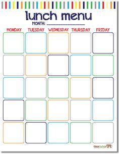 FREE School Lunch Calendar {printable}