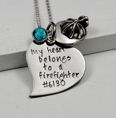 My Heart Belongs to A Firefighter Necklace Pendant by SecretSphynx, $27.50