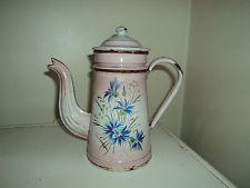 Ancienne Jolie cafetière émaillée rose,bouquet de fleurs