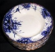 Lovely Gilded Flow Blue Soup Plate, ORCHID, GTM, 1888-98