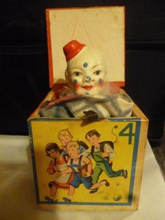 Wonderful Antique German Toy Jack in the Box CLOWN Squeaks West Germany Very Good Condition for age - Use your zoom! Creepy Toys, Creepy Clown, Antique Toys, Vintage Toys, Coney Island Amusement Park, German Toys, Insane Clown, Jack In The Box, Circus Theme