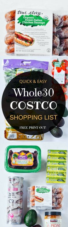 Best Whole30 and paleo shopping list!! Complete with how to read the labels guide and checkboxes for all your whole30 needs! Shop with ease! Eat like a whole30 king! Free shopping list & shopping guide printout! Whole30 shopping list. Whole30 Costco shopp paleo lunch options