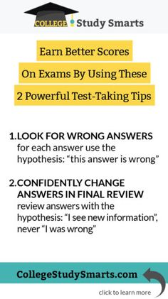 We all kinda hate exams, but with these easy test-taking hacks you can see a quick improvement in your marks. Earn Better Scores On Exams By Using These 2 Powerful Test-Taking Tips: Look For Wrong Answers College Test, College Life Hacks, Online College, Effective Study Tips, School Study Tips, School Tips, School Hacks, Law School, School Stuff