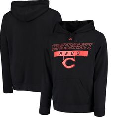 Cincinnati Reds Majestic Ready and Able Pop Logo Pullover Hoodie - Black - $54.99
