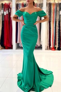 Cant't decide what to wear for your ball? Check out this green off-the-shoulder mermaid evening dress at ballbella.com, fast delivery worldwide. Green Evening Dress, Mermaid Evening Gown, Evening Gowns, Beaded Prom Dress, Mermaid Prom Dresses, Prom Dresses Online, Cheap Prom Dresses, Wedding Dresses, Lace Wedding