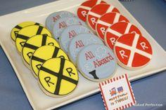 Train Theme Sugar Cookies Resemble Crossroad Signs - Foodista.com