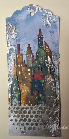 Tim Holtz cityscape Metropolis in silver tones on Tag