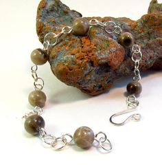 Michigan Petoskey stone and sterling silver bracelet by rwilberg
