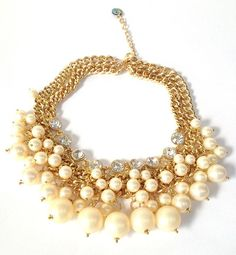 Ivory Pearl and Crystal Collar