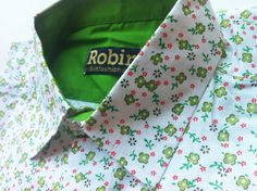 Unique Men's long sleeved shirt green flower print by RobinFashion $55
