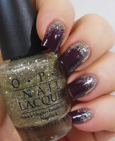 Champagne Glitter Gradient // OPI Spark de Triomphe over OPI We'll Always Have Paris