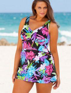 578cefc6c4e Beach Belle Aqua Floral Plus Size V-Neck Swimdress. Modest One Piece  Bathing Suit WomenBathing ...
