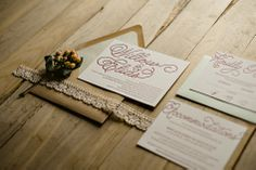 Pastel Lace Wedding Invitation with Kraft Envelopes, Rustic Wedding Invitations